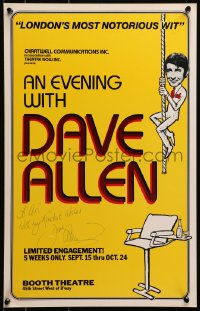 4x014 DAVE ALLEN signed stage play WC 1981 An Evening with Dave Allen, Broadway, great cartoon art!