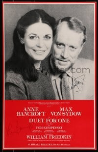 4x015 DUET FOR ONE signed stage play WC 1981 by BOTH Anne Bancroft AND Max Von Sydow!