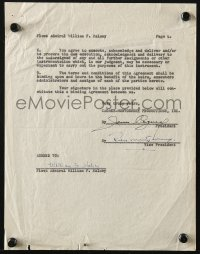 4x080 GALLANT HOURS signed contract 1960 by James Cagney, Robert Montgomery AND William F. Halsey!