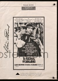 4x010 CLINT EASTWOOD signed pressbook 1967 great advertising for A Fistful of Dollars!