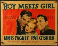 4y726 BOY MEETS GIRL style A 1/2sh 1938 Hollywood screenwriters James Cagney & O'Brien, ultra-rare!