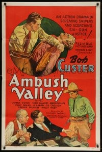 4z514 AMBUSH VALLEY 1sh 1936 art of Bob Custer fighting with two other cowboys!