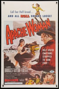 4z522 APACHE WOMAN int'l 1sh 1955 art of naked cowgirl in water pointing gun at Lloyd Bridges!