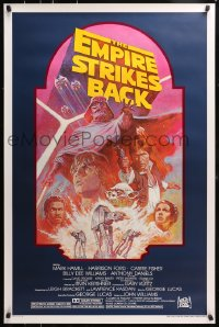 4z647 EMPIRE STRIKES BACK studio style 1sh R1982 George Lucas sci-fi classic, cool artwork by Tom Jung!