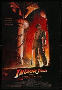 4z731 INDIANA JONES & THE TEMPLE OF DOOM 1sh 1984 art of Harrison Ford by Bruce Wolfe, no borders!