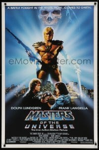 4z774 MASTERS OF THE UNIVERSE 1sh 1987 image of Dolph Lundgren as He-Man & Langella as Skeletor!