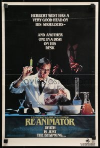4z061 RE-ANIMATOR 14x21 Australian video poster 1985 great image of mad scientist Jeffrey Combs!