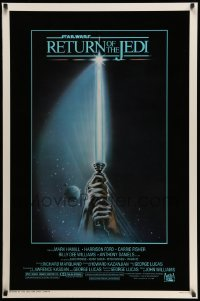 4z850 RETURN OF THE JEDI 1sh 1983 George Lucas, art of hands holding lightsaber by Tim Reamer!
