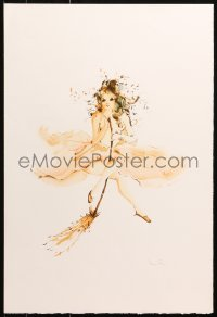 4z049 LEONOR FINI signed 15x22 art print 1980s signed by the artist, art of girl with broom!