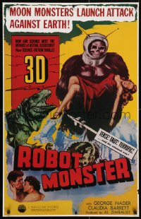 4z067 ROBOT MONSTER tv poster R1981 3-D, the worst movie ever, great wacky art!