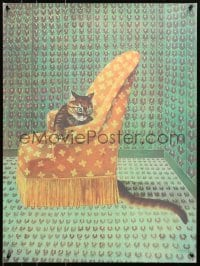 4z039 STANISLAO LEPRI signed #183/320 21x28 art print 1970s by the artist, Le Chat, cat on a chair!
