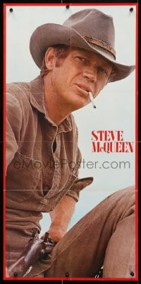 4z441 STEVE McQUEEN 16x33 Japanese special poster 1973 western cowboy close-up from Nevada Smith!