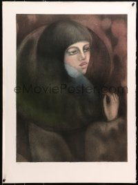 4z040 UNKNOWN ART PRINT signed #111/225 22x30 art print 1980s close-up art of woman!