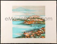 4z055 UNKNOWN ART PRINT signed artist's proof 20x26 art print 1980s art of city over harbor!