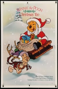 4z070 WINNIE THE POOH & CHRISTMAS TOO tv poster 1991 great image of him as Santa with Piglet!