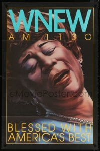 4z026 WNEW AM 1130 ELLA FITZGERALD radio poster 1980s great art, blessed with America's best!