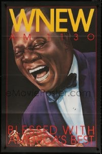 4z028 WNEW AM 1130 LOUIS ARMSTRONG radio poster 1980s great art, blessed with America's best!