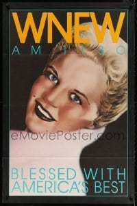 4z030 WNEW AM 1130 PEGGY LEE radio poster 1980s portrait art, blessed with America's best!