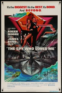 4z896 SPY WHO LOVED ME 1sh 1977 great art of Roger Moore as James Bond by Bob Peak!