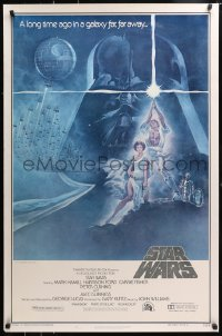 4z909 STAR WARS style A first printing 1sh 1977 art by Tom Jung, domestic version with PG rating!