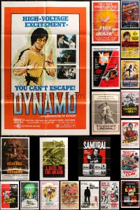 5a019 LOT OF 63 FOLDED KUNG FU ONE-SHEETS 1960s-1980s great images from martial arts movies!