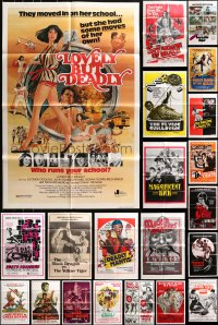 5a026 LOT OF 56 FOLDED KUNG FU ONE-SHEETS 1960s-1980s great images from martial arts movies!