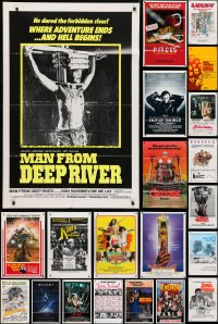 5a033 LOT OF 49 FOLDED ONE-SHEETS 1970s-1980s great images from a variety of different movies!