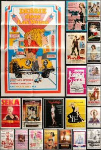 5a034 LOT OF 48 FOLDED SEXPLOITATION ONE-SHEETS 1960s-1980s great sexy images with some nudity!