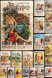 5a028 LOT OF 54 FOLDED ONE-SHEETS 1950s great images from a variety of different movies!
