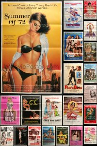 5a030 LOT OF 51 FOLDED SEXPLOITATION ONE-SHEETS 1960s-1980s great sexy images with some nudity!