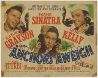 5b003 ANCHORS AWEIGH TC 1945 sailors Frank Sinatra & Gene Kelly with Kathryn Grayson, all w/phones!
