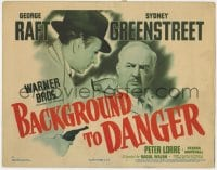 5b005 BACKGROUND TO DANGER TC 1943 c/u of George Raft pointing gun at Sydney Greenstreet in Turkey!