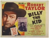 5b010 BILLY THE KID TC R1955 super close up of Robert Taylor at the famous outlaw by wanted posted!