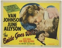 5b017 BRIDE GOES WILD TC 1948 great romantic close up of Van Johnson kissing June Allyson!