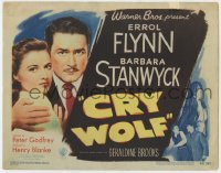 5b028 CRY WOLF TC 1947 great close image of Errol Flynn protecting pretty Barbara Stanwyck!