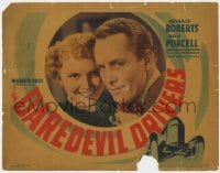 5b029 DAREDEVIL DRIVERS TC 1938 romantic c/u of race car driver Dick Purcell & Beverly Roberts!