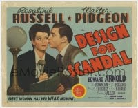 5b032 DESIGN FOR SCANDAL TC 1941 Walter Pidgeon kissing judge Rosalind Russell on the cheek!