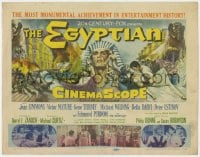 5b043 EGYPTIAN TC 1954 artwork of Jean Simmons, Victor Mature & Gene Tierney in ancient Egypt!