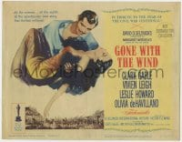5b059 GONE WITH THE WIND TC R1961 art of Clark Gable carrying Vivien Leigh over burning Atlanta!