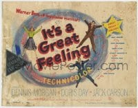 5b067 IT'S A GREAT FEELING TC 1949 Doris Day, Dennis Morgan & Jack Carson, Warner Bros musical!