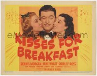 5b073 KISSES FOR BREAKFAST TC 1941 Dennis Morgan between pretty Jane Wyatt & Shirley Ross!