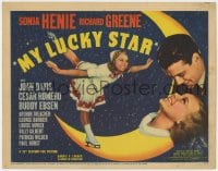 5b077 MY LUCKY STAR TC 1938 romantic close up of ice skater Sonja Henie & Richard Greene on moon!