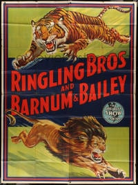 5c078 RINGLING BROS & BARNUM & BAILEY circus 8-sheet poster 1946 big top art of lion and tiger!