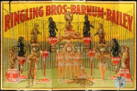 5c077 RINGLING BROS & BARNUM & BAILEY 111x165 circus poster 1945 Greatest Show on Earth, Bailey art!