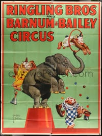 5c079 RINGLING BROS & BARNUM & BAILEY CIRCUS circus 8-sheet poster 1944 art of clowns and elephant!