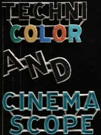 5c054 CINEMASCOPE & TECHNICOLOR cast iron marquee signs 1950s colorful design, Adler Sign Letter Co.