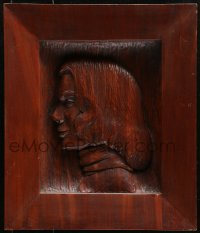 5c052 GRACE KELLY carved wood portrait 1955 profile art of the star, made for Dore Freeman!