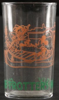5c015 HARLEM GLOBETROTTERS drinking glass 1964 in Italy with Mickey Mouse, Walt Desney tie-in!