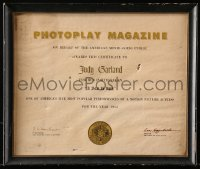 5c056 JUDY GARLAND 12x14 framed certificate 1954 Photoplay gave it to her for A Star Is Born!