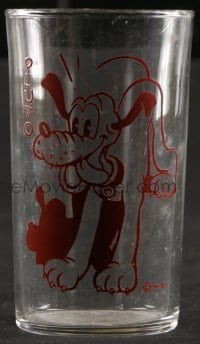 5c017 PLUTO drinking glass 1940s Walt Disney, great image of the dog in red!